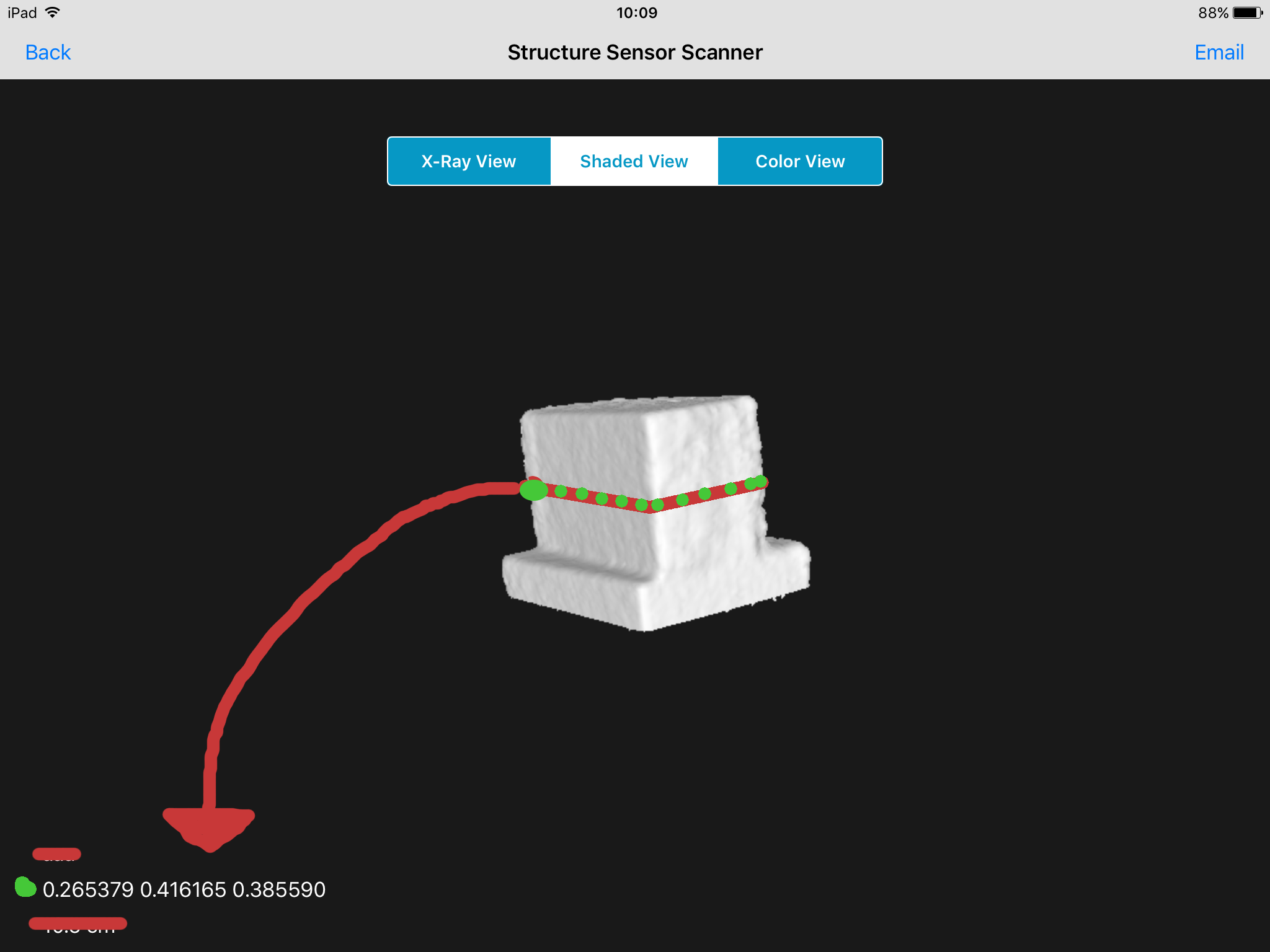Find 3d point in scanner app - Structure SDK (for iOS